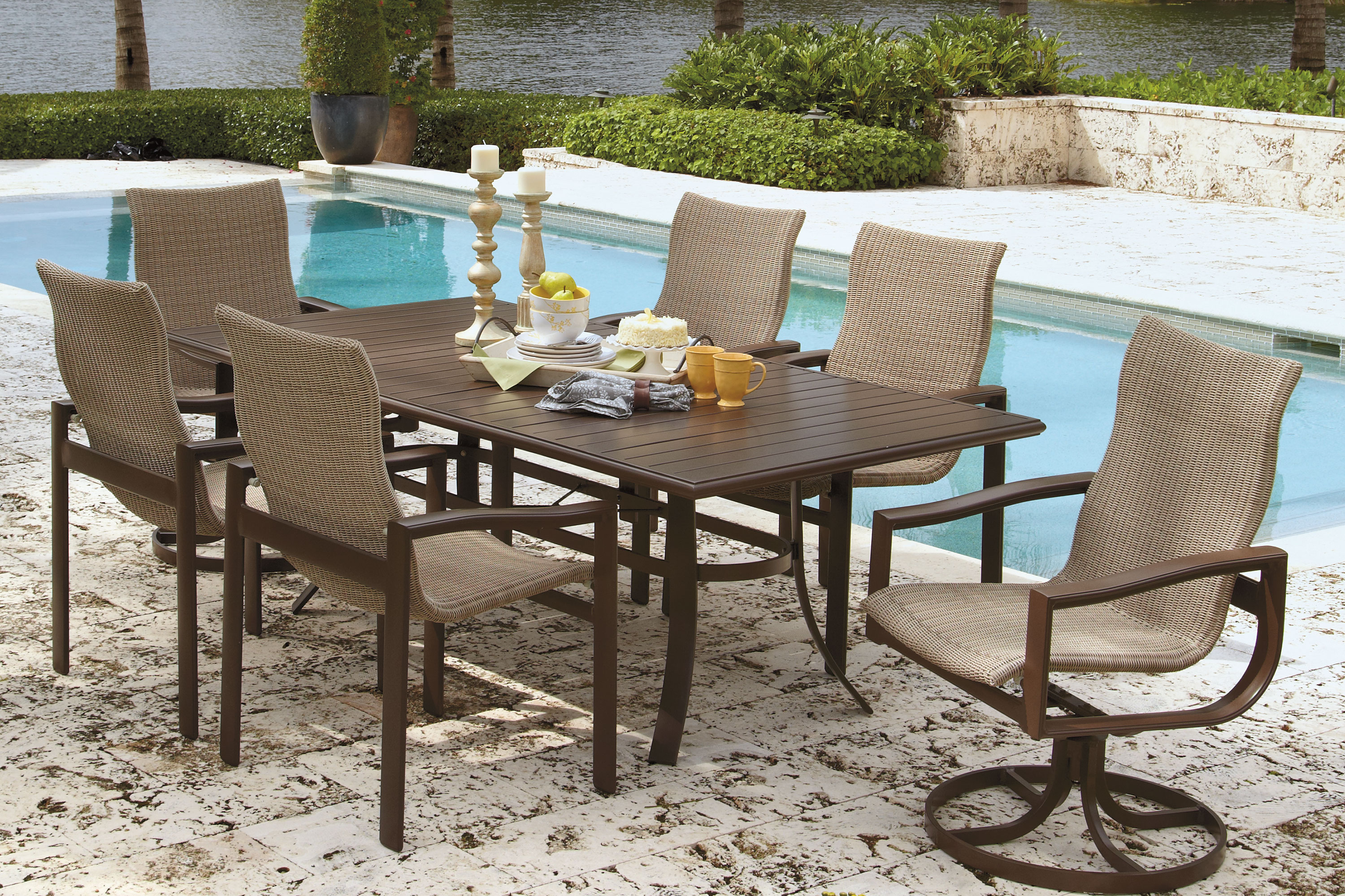 The Belvedere Woven Shown Here In A Dining Group Is A Very Durable Yet  Versatile Seating Option. They Have A Traditional Design With An Extra Wide  Aluminum ...