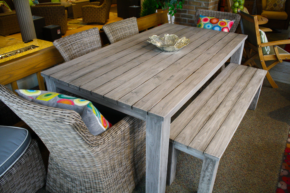Reclaimed Teak Dining Table Outdoor Dining Set Okemos MI - Teak table with benches