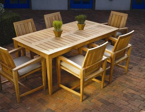 Captivating This Westbrook Teak Patio Dining Set Is A Marriage Of High Style And  Comfort. The Sleek Armchair Has Tapered Legs, Sharp Angles And A Contoured  Back For A ...