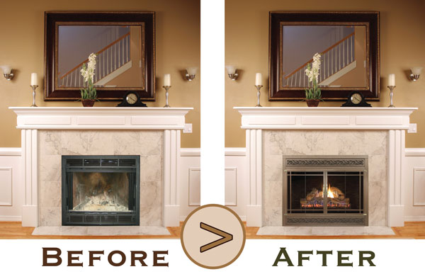 Stoll fireplace doors fireplace refacing ideas in okemos mi - Ideas to cover fireplace opening ...