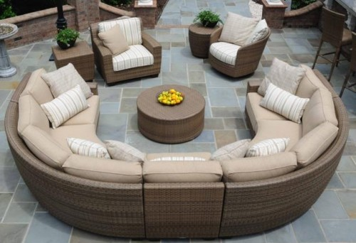 Curved Saddleback Sectional - Saddleback Curved Outdoor Sectional Seating Group Hot Tubs