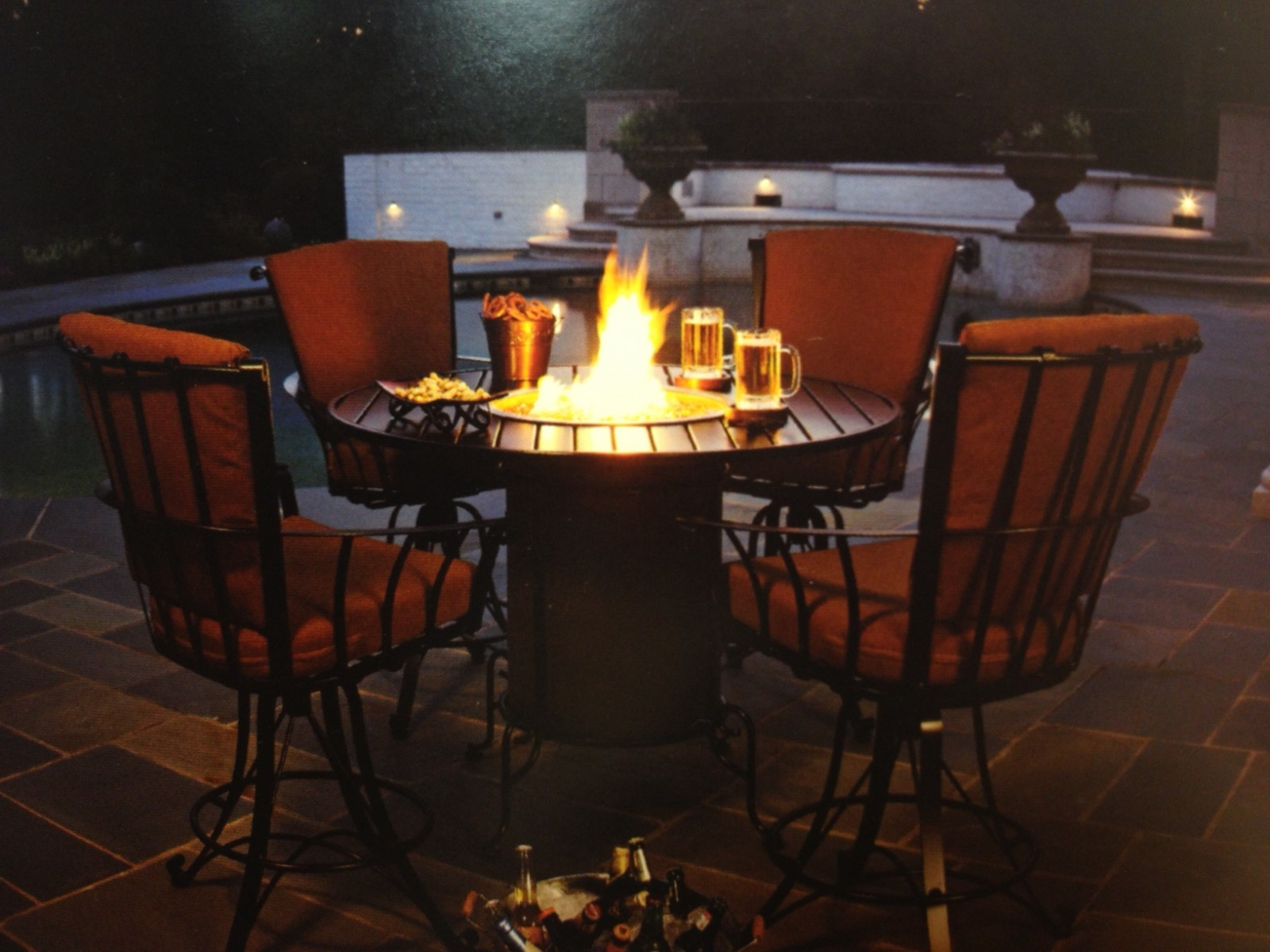 Meadowcraft hot tubs fireplaces patio furniture heat for Balcony restaurant group