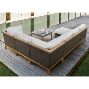 Angular Planes Of Hand Woven Fiber Are Supported By A Sturdy Base Of Solid  Teak Hardwood. The Sectional Is Deep And ...